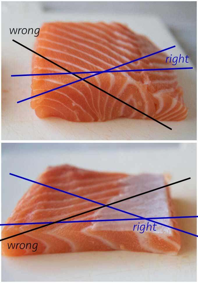 Showing the right and wrong directions of slicing a salmon fillet.