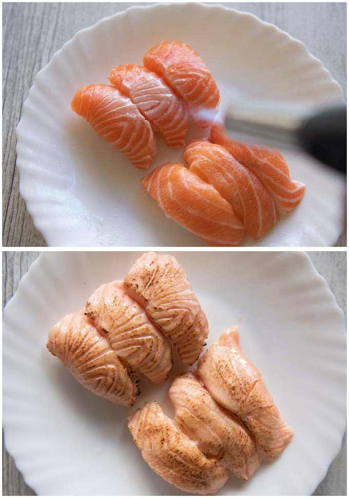 Showing before and after blowtorching the surface of salmon nigiri sushi.