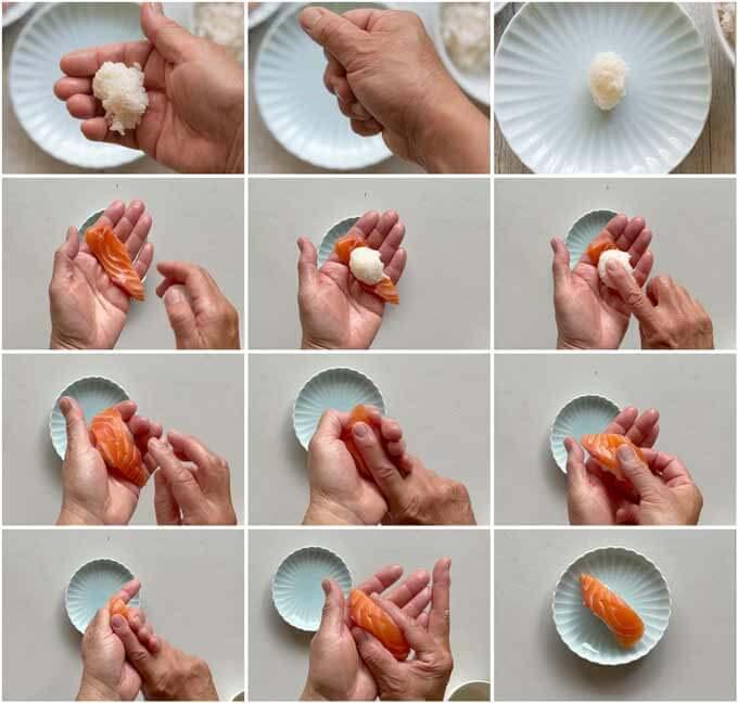 Step-by-step photo of how to make nigiri sushi.
