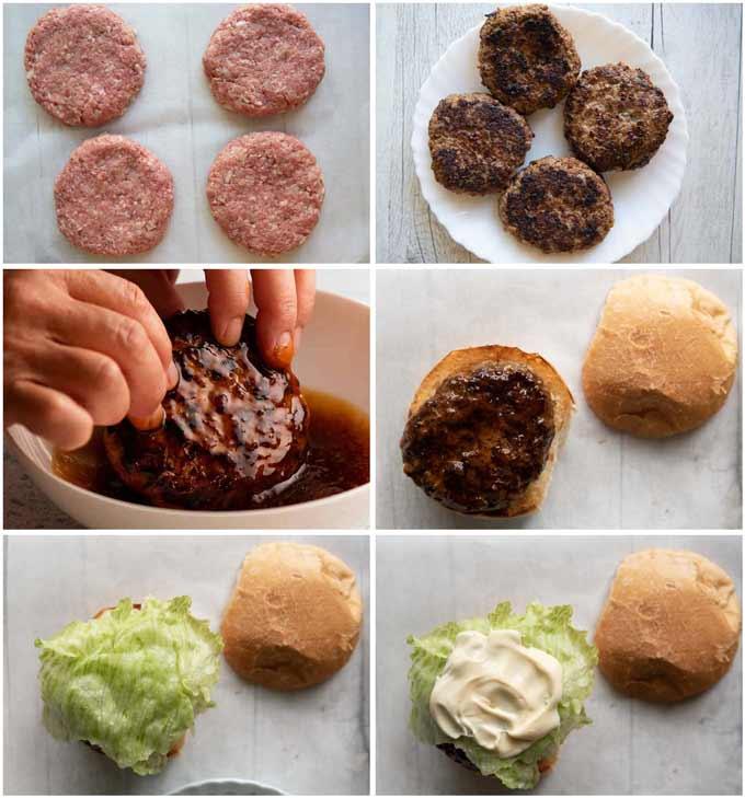 Step-by-step photo of making a Copycat McDonald's Teriyaki Burger.