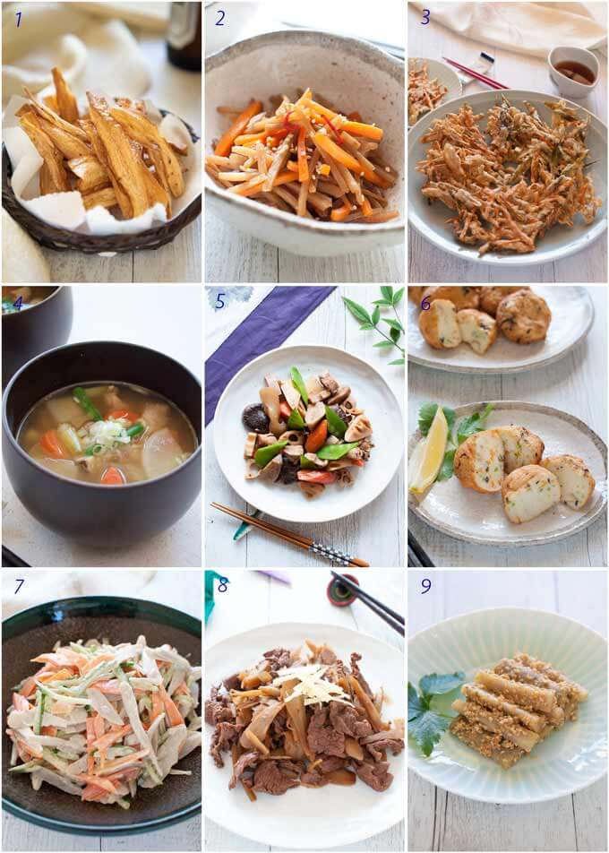 A list of all the dishes using burdock.