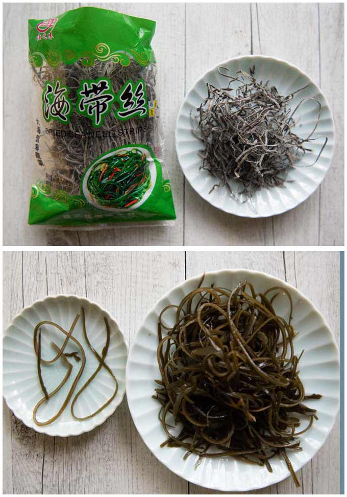 Chinese dried shredded kelp, showing before and after rehydrated.