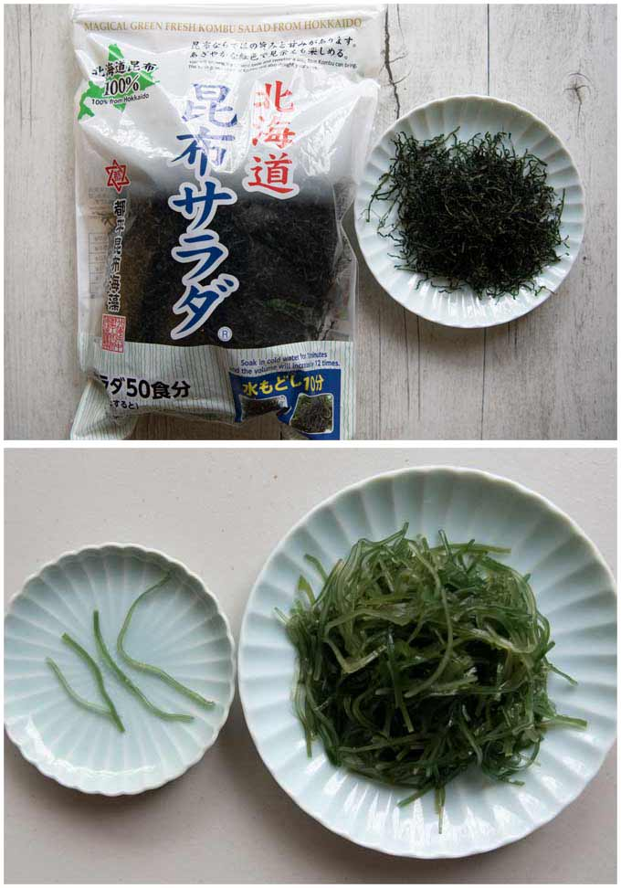Japanese dried shredded kelp, showing before and after rehydrated.