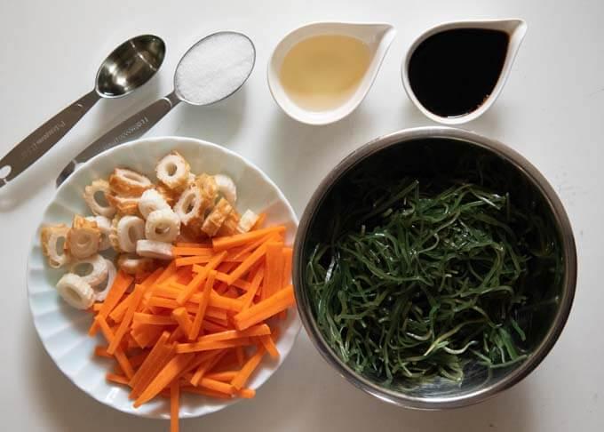 Ingredients for Simmered Shredded Kelp.