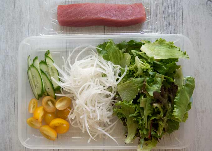 Ingredients for Tuna Sashimi Salad.
