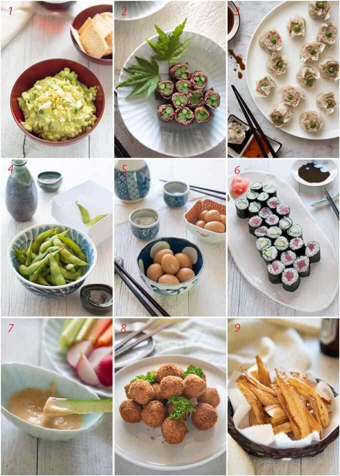 List of appetiser & nobbles.