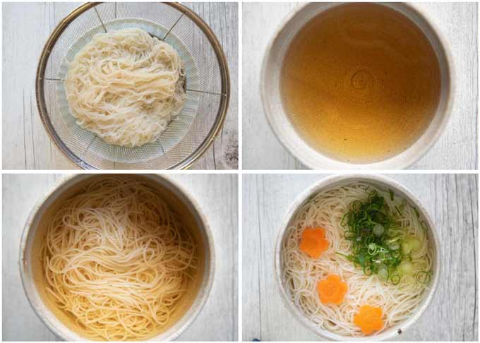 Step-by-step photo of making Cold Nyūmen.