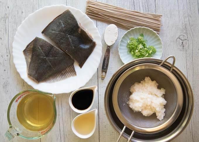 Ingredients fo Flounder Mizore-ni.
