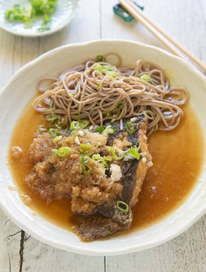 Hero shot of Flounder Mizore-ni (Simmered Flounder in Grated Daikon).