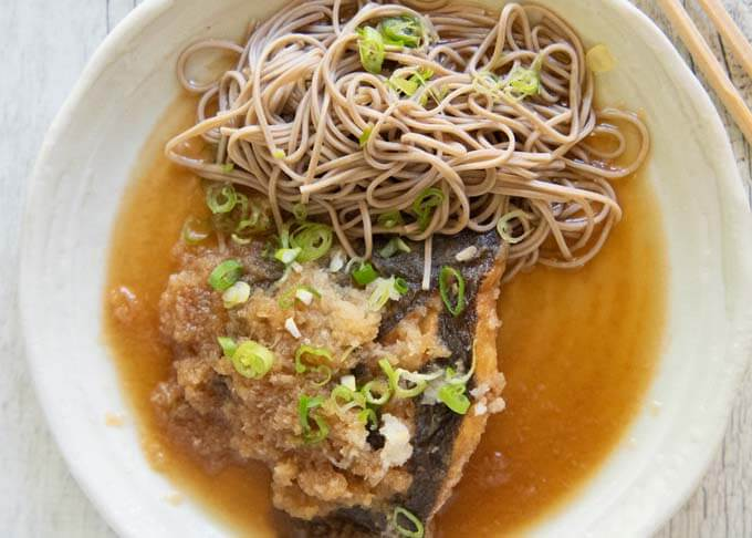 Top-down photo of Flounder Mizore-ni (Simmered Flounder in Grated Daikon).