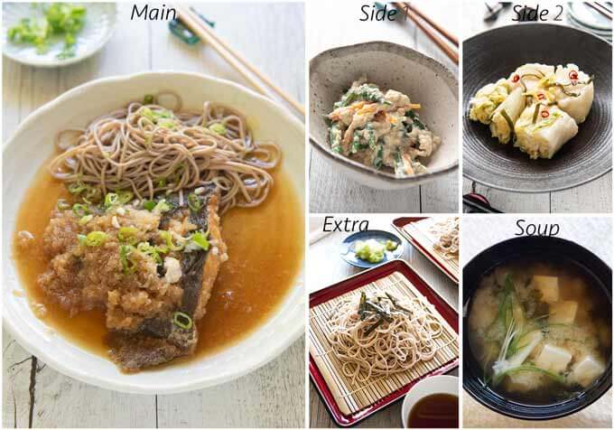 Meal idea with Flounder Mizore-ni (Simmered Flounder in Grated Daikon).