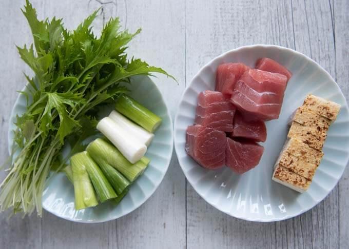 Ingredients for Negima Nabe.
