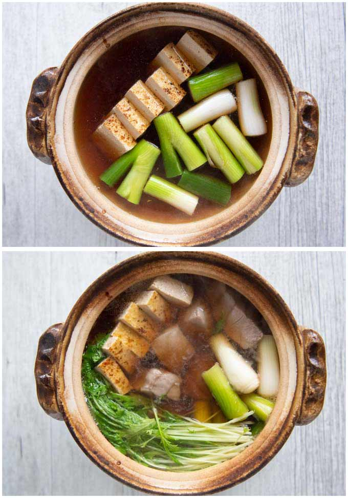 Cooking Negima Nabe in a clay pot.