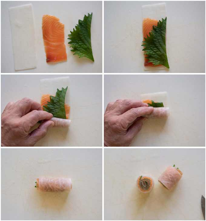 Step-by-step photo of how to roll daikon sheet with smoked salmon and perilla.