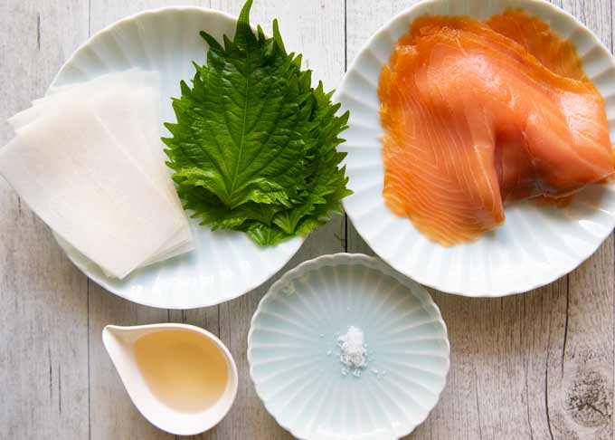Ingredients for Smoked Salmon Rolls.