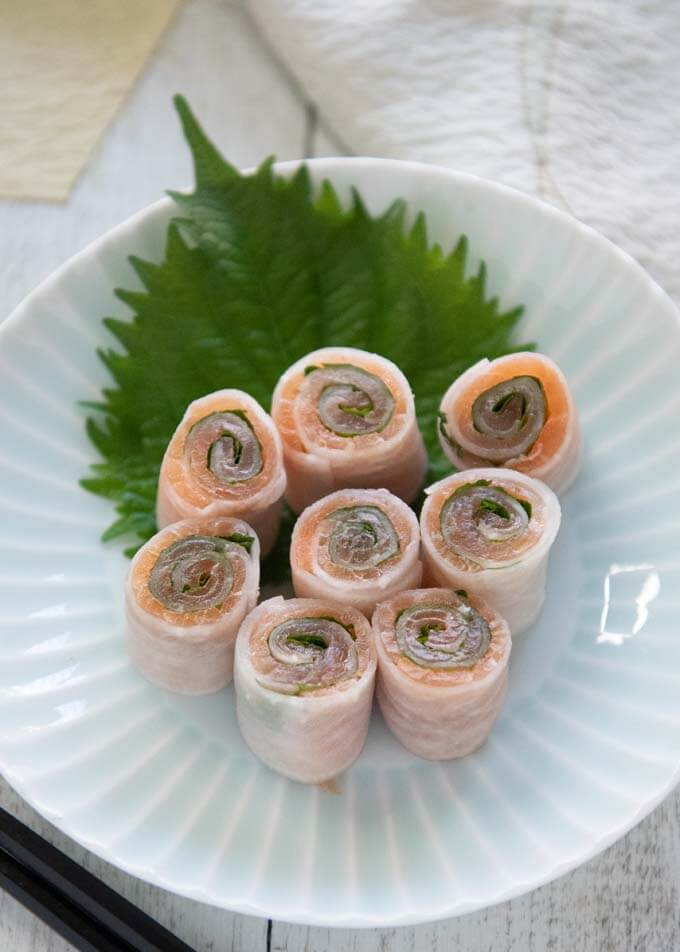 Hero shot of Smoked Salmon Rolls served on a plate.