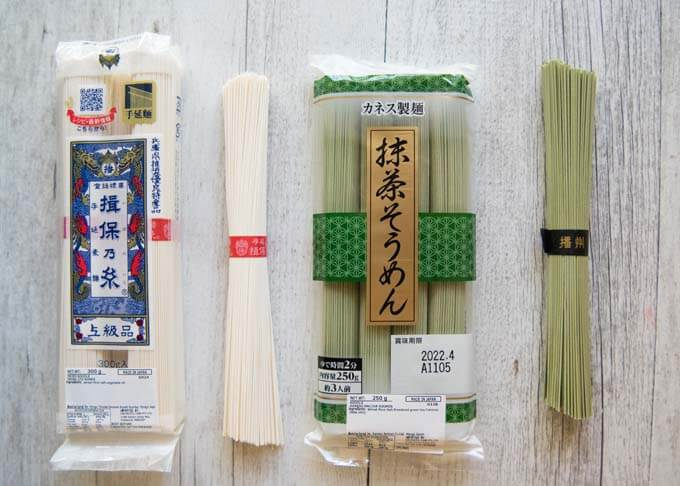 Standard white sōmen and green matcha sōmen.