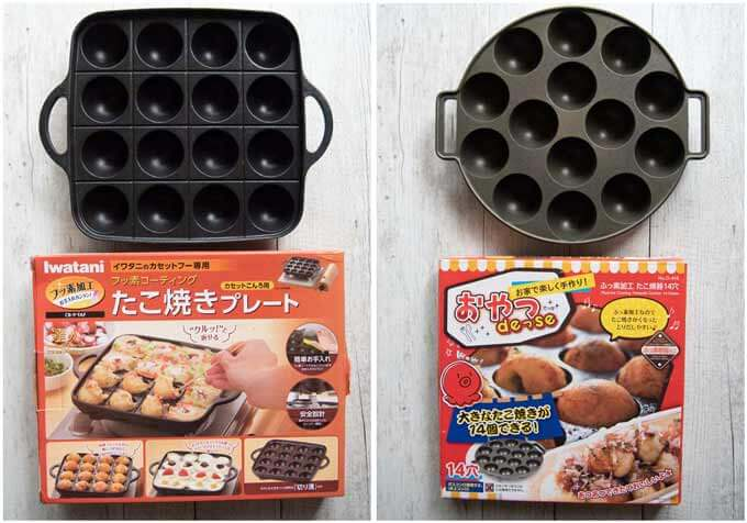 Two kinds of Takoyaki grill pans.
