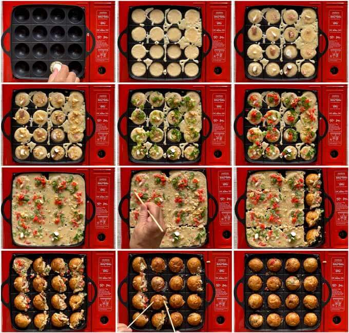 Step-by-step photos of how to make Takoyaki.