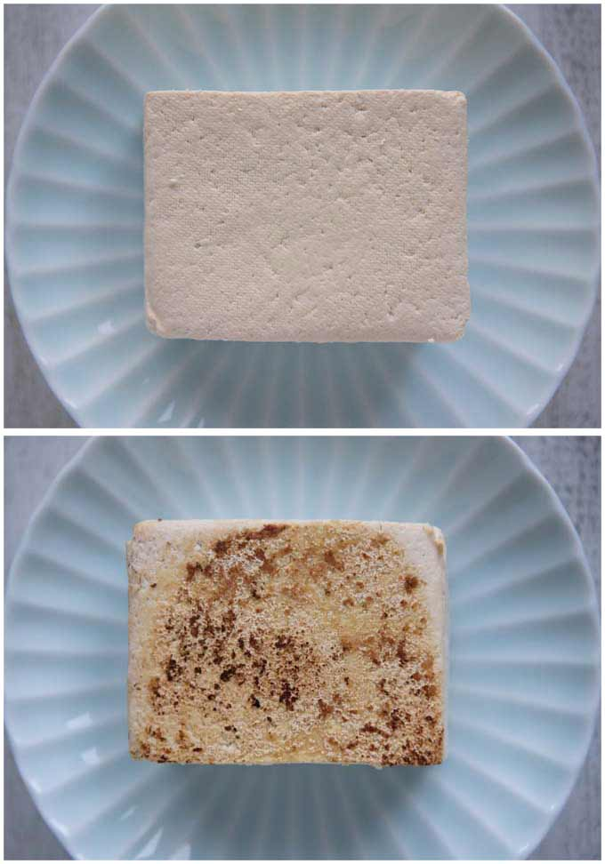 Howme-made grilled tofu - showing fresh firm tofu and grilled tofu.