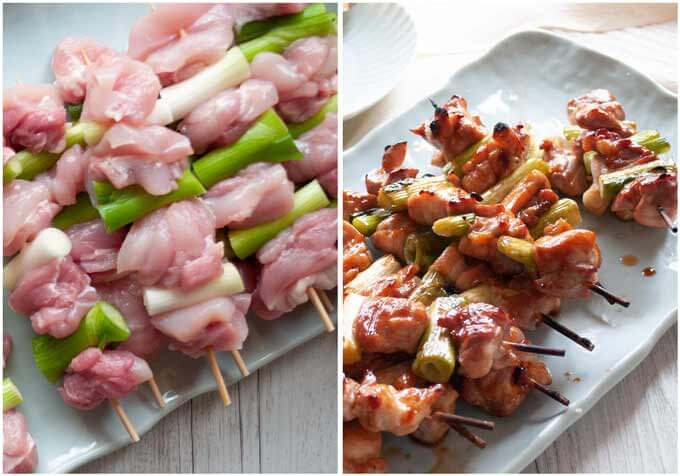 Yakitori negima before cooking and after cooking.