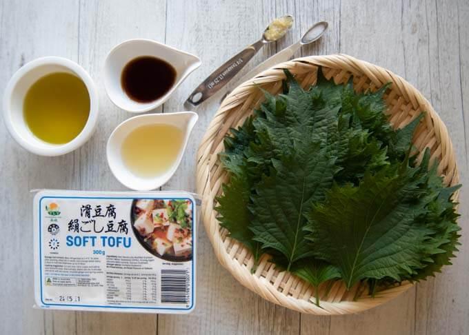 Ingredients for Perilla and Tofu Dip