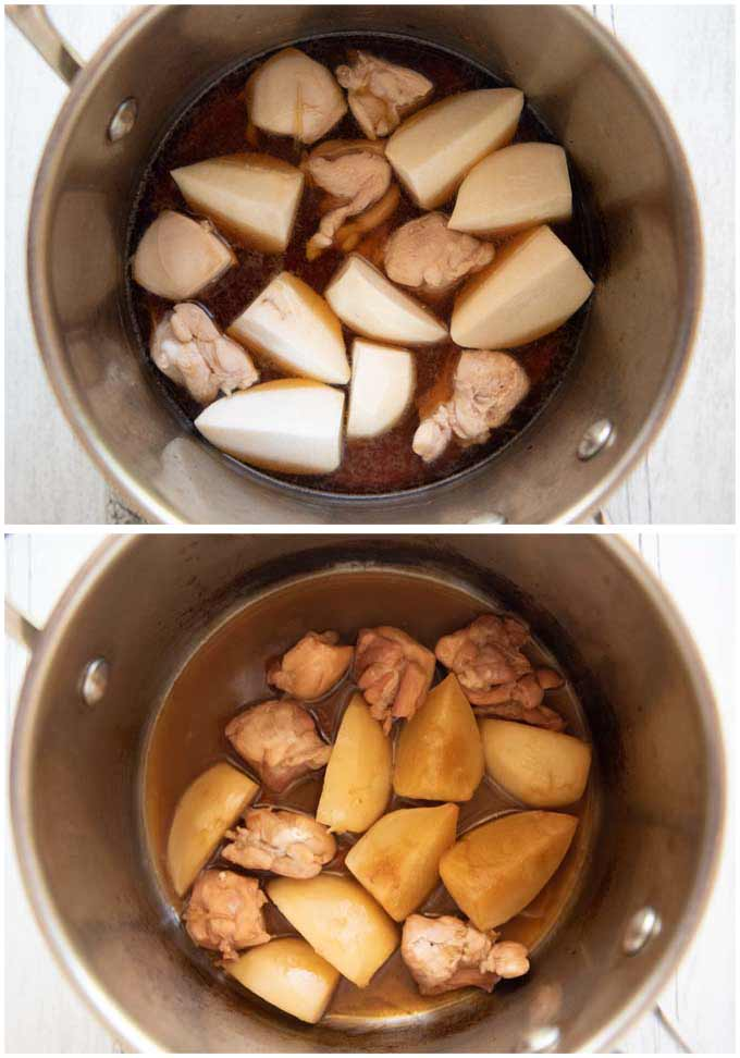 Showing before and after simmering the ingredients.