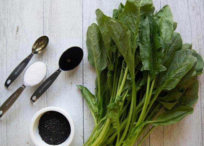 Ingredients for Spinach Kuro goma-ae (dressed in black sesame dressing).
