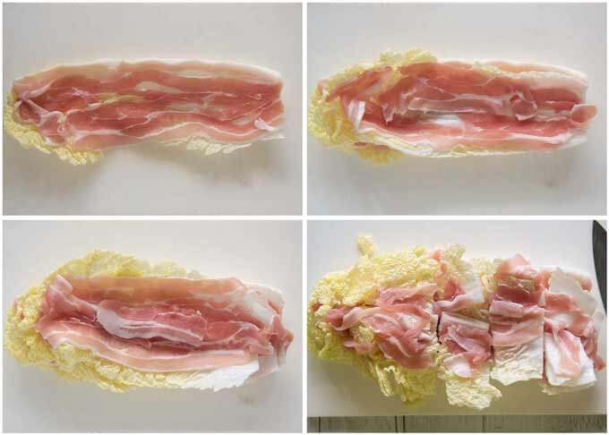 Showing how to layer Chinese cabbage leaves and pork slices.