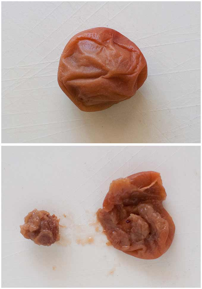Before and after deseeding a pickled plum.