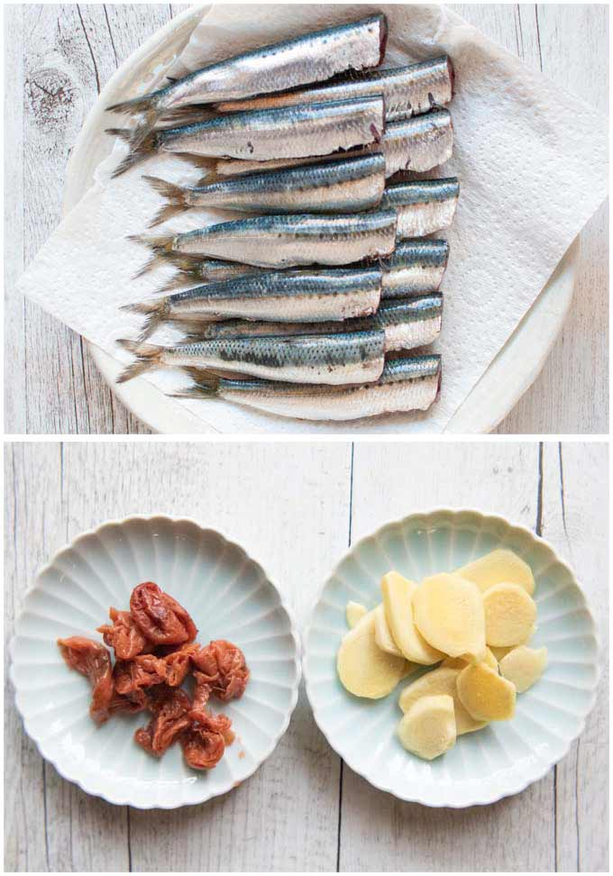 Key ingredients for Simmered Sardines with Pickled Plum.