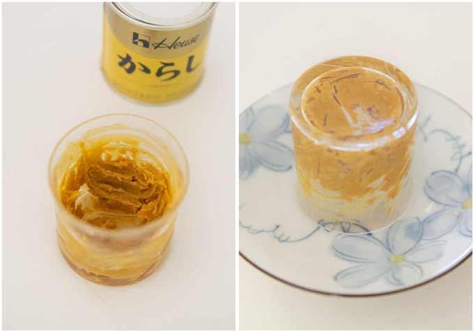 Making Japanese mustard paste from karashi powder.