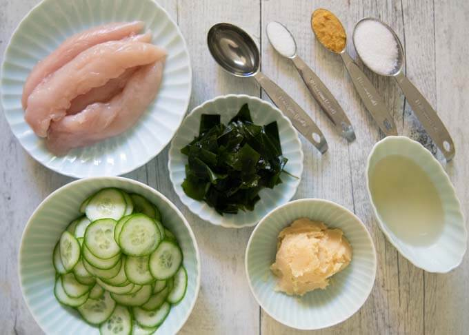 Ingredients for Poached Chicken Tenderloin with Mustard-miso Dressing.