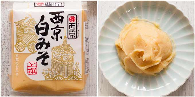 Saikyo miso in a pack and on a plate.