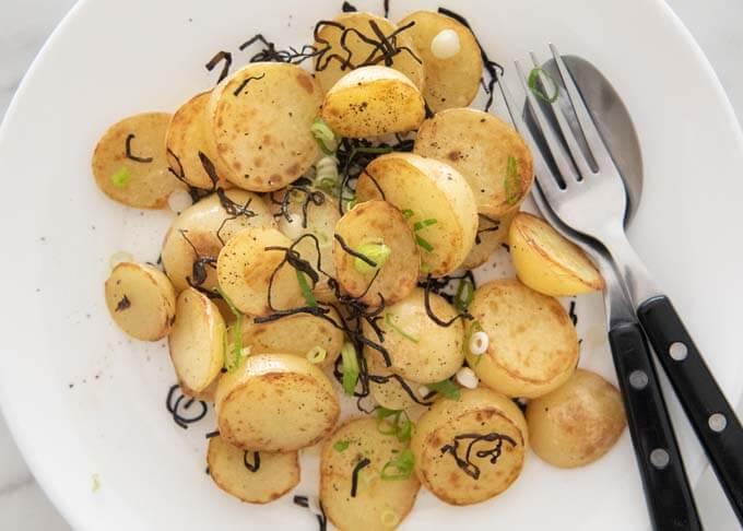 Top-down photo of Sautéed Potato with Shio Konbu.