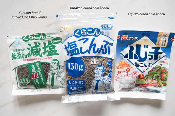 Different shio konbu packets from the shop.