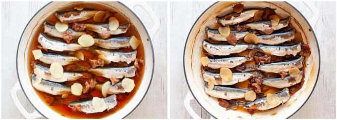 Simmering sardines in flavoured sauce with umeboshi and ginger.