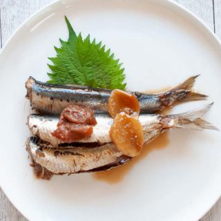 Hero shot of Simmered Sardines with Pickled Plum.