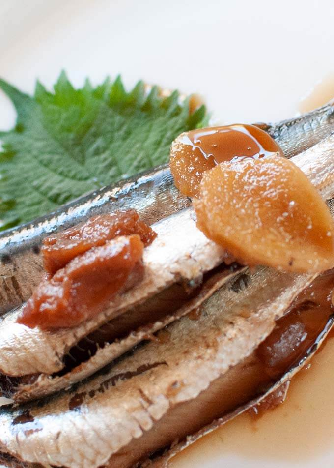 Zoomed-in photo of Simmered Sardines with Pickled Plum.