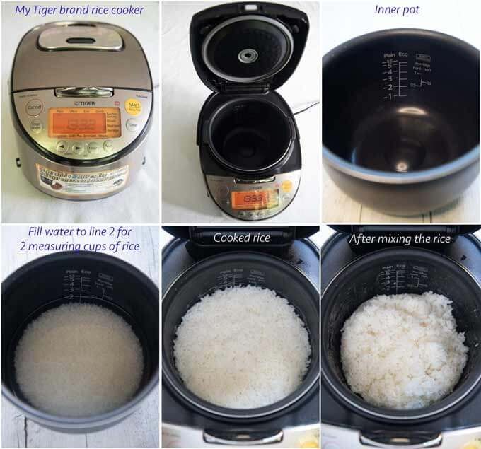 Step-by-step photo of cooking rice in a rice cooker.