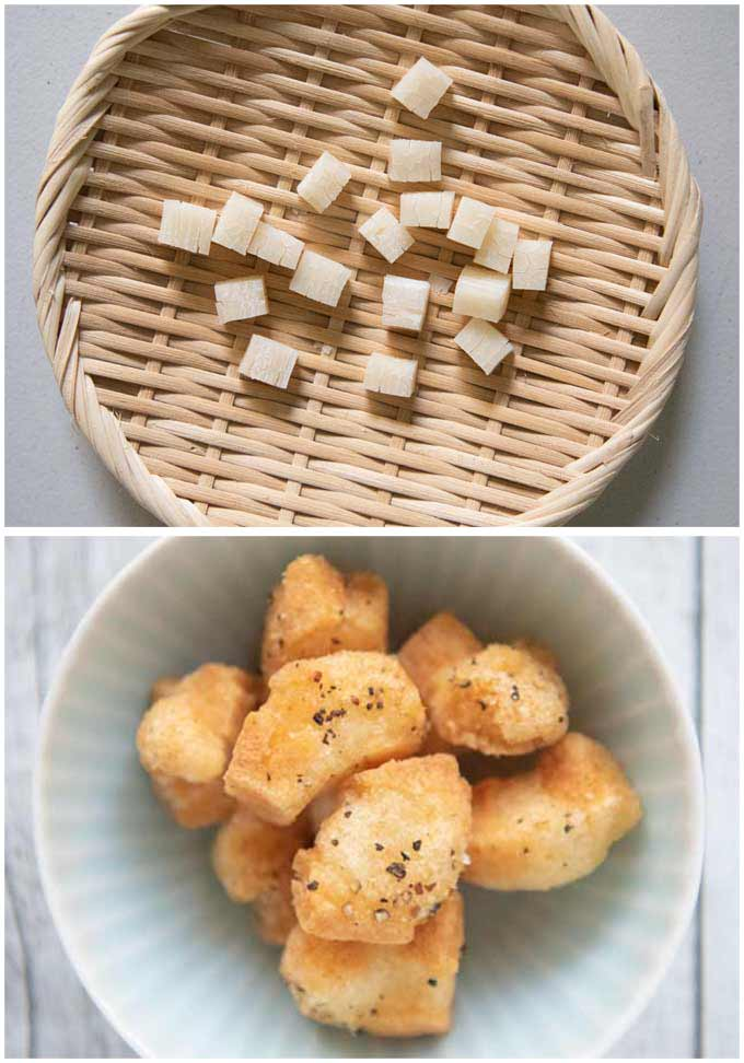 Age Okaki made from cubed rice crackers.