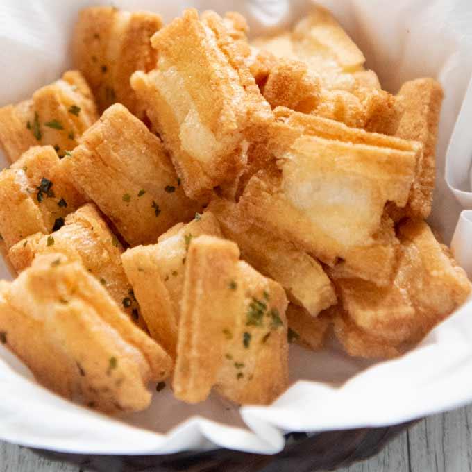 Hero shot of Deep-fried Rice Crackers (Age Okaki) served in a bsket.