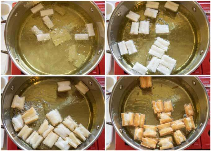 Step-by-step photo of deep-frying rice cakes.