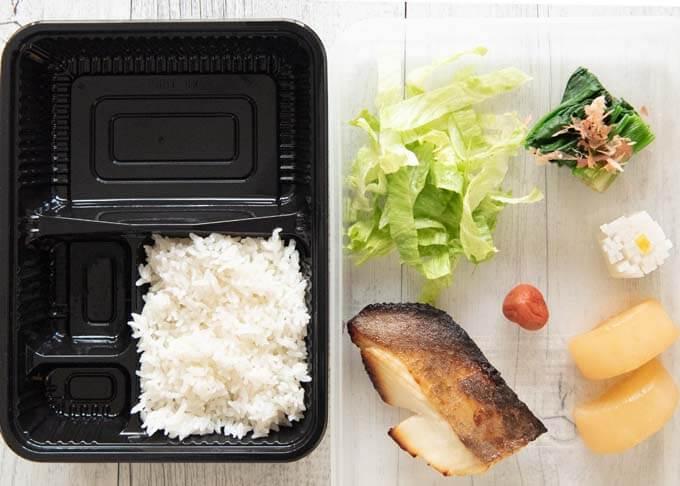 Hinomaru Bento ingredients.