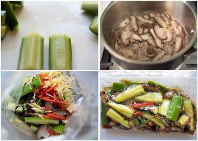 Step-by-steps of how to make Pickled Cucumbers and Shiitake Mushroooms.