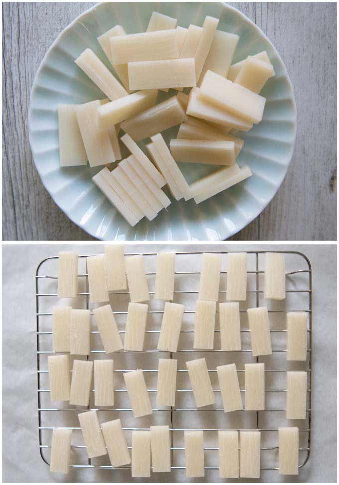 Showing sliced rcie crackers and drying them on a rack.