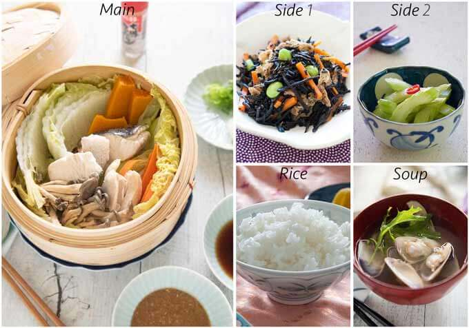 MEal idea with Steamed Chicken and Fish with Vegetables.