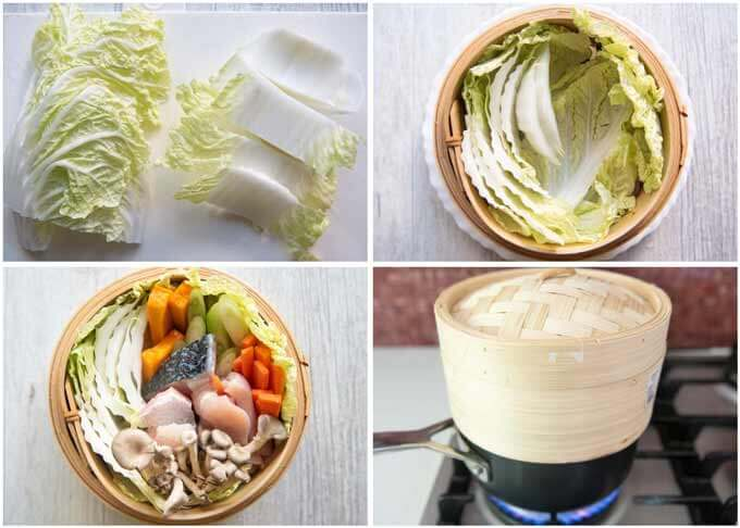 step-by-step-photo of how to make Steamed Chicken and Fish with Vegetables.
