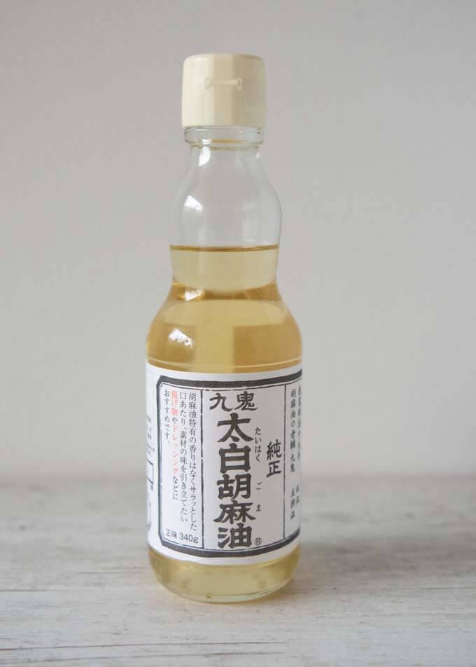 A bottle of white sesame oil.