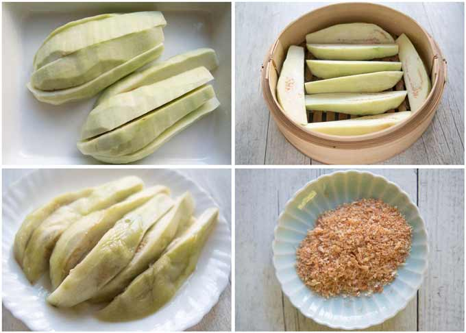 Step-by-step photo of steaming eggplant wedges and a photo of powdered dried shrimp.